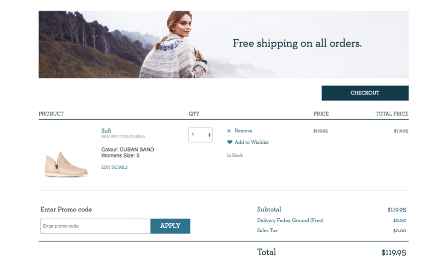 How to assure your users that there will be no additional costs? Emu Australia does this in a really nice way: at the top of the page we can see that free shipping is available, plus - in the subtotal - delivery and sales tax are not applicable (N/A). Therefore, from the very beginning we know that the total will never exceed 119.95 USD.