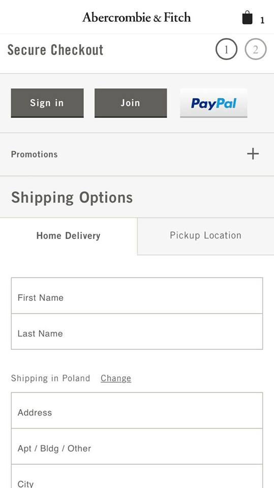 Abercrombie.com optimized checkout example: there is