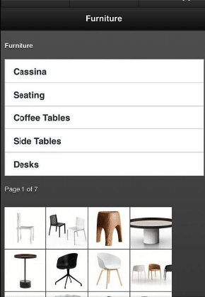 Not optimized menu: in the upper part of the screen there are names of furniture and the photos below. The user has no idea which one is which. Are these already products or what?