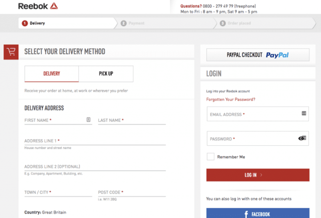 Reebok does this in the right way: no one is forced to register, they just ask about the delivery address, which is obvious in an online shop. And if I am a returning customer I can login, but I don't have to. Later in the process I could create an account: and after my very nice experience in the Reebok shop (with the great in-line validation I showed you before), I'll definitely do that!