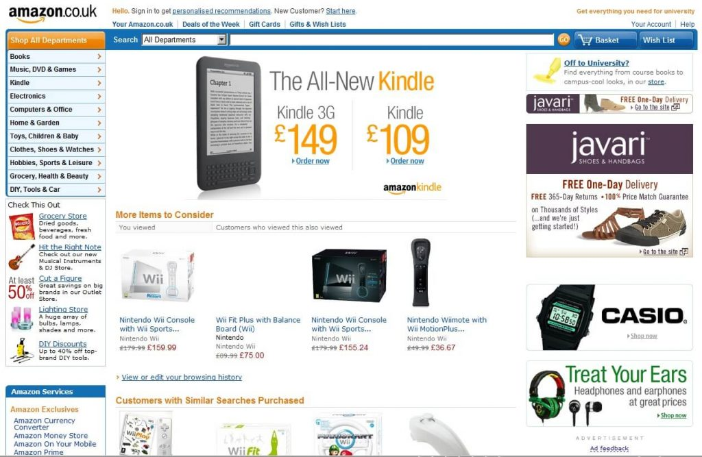 Amazon website before fedesign
