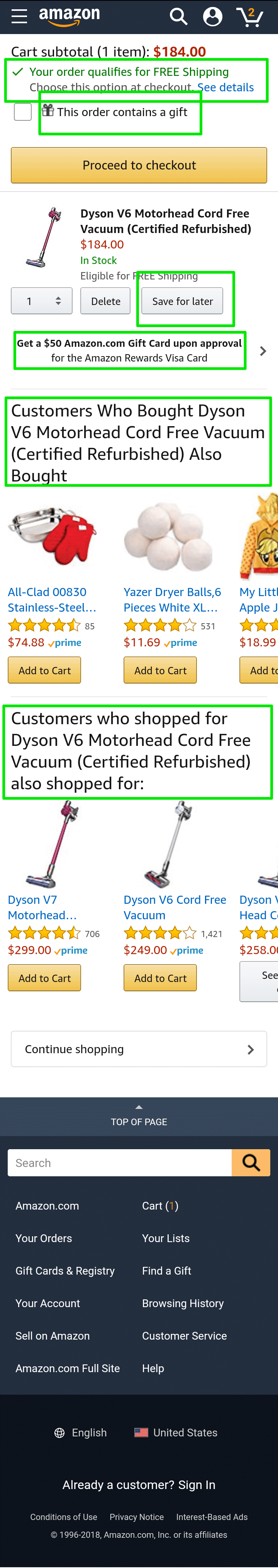 Amazon online store cart