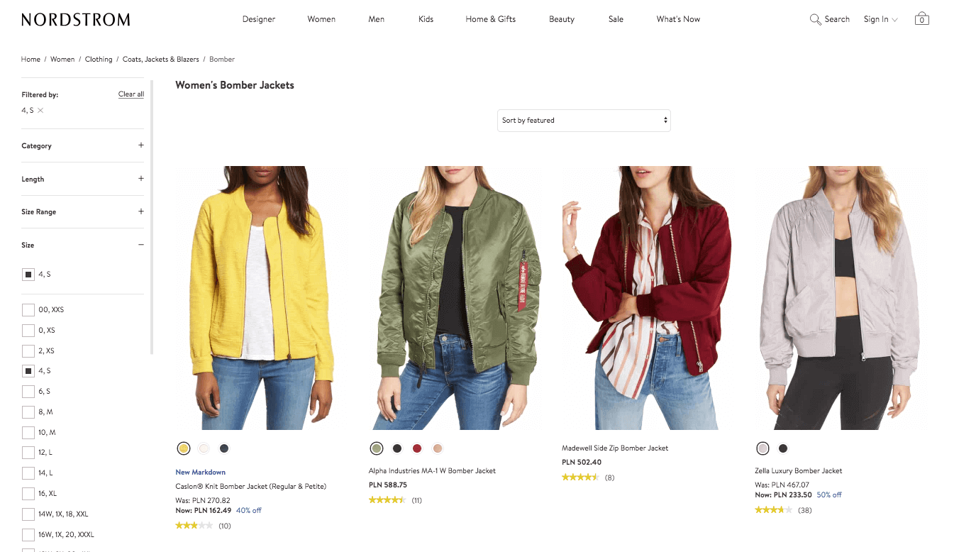Available products and sizes in Nordstrom ecommerce