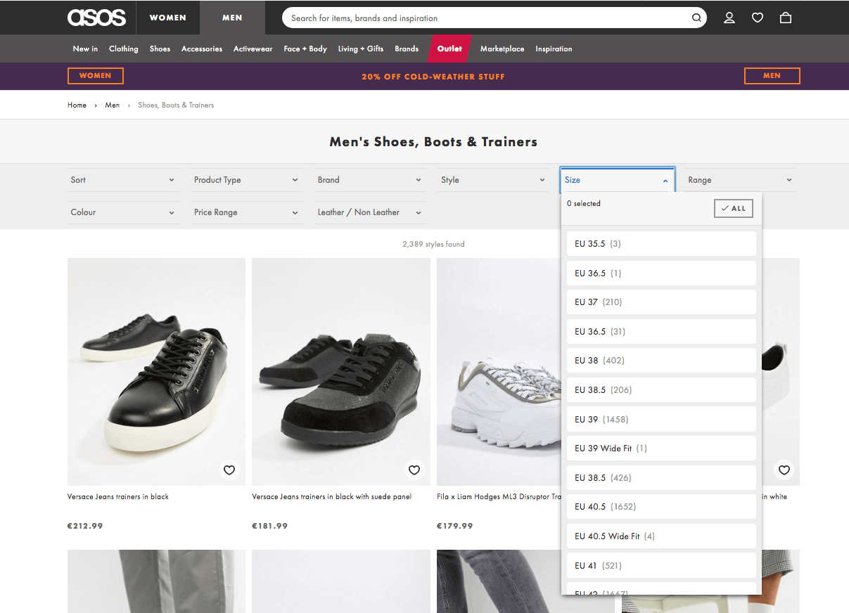 Advanced filters on the Asos product listing page