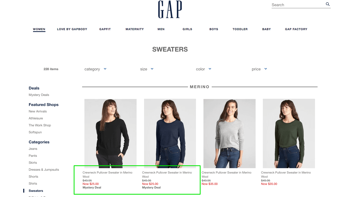 All the necessary information included under products on GAP product listing