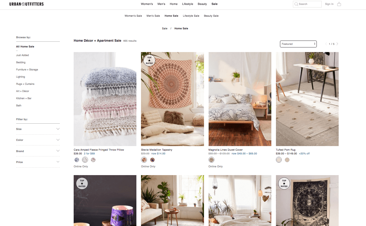 Category listing design with big, descriptive product photos