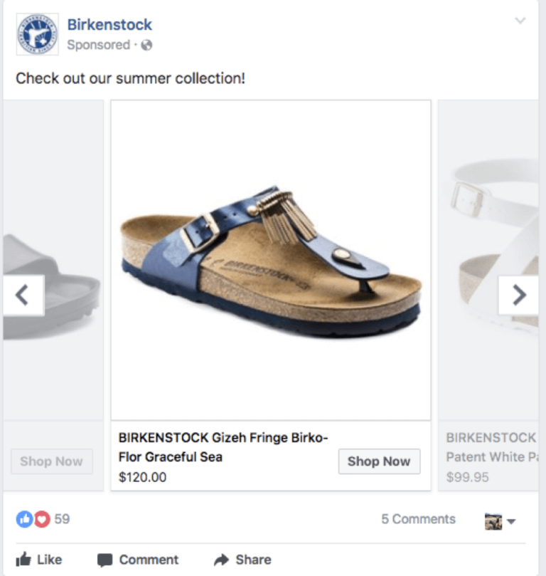 Seasonal products Facebook campaign