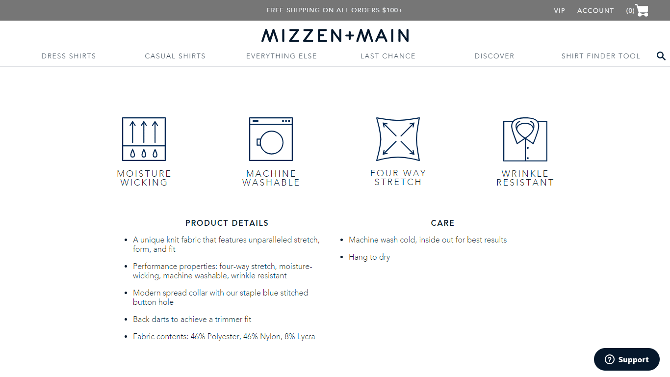 Mizzen and Main showcases its main value proposition on all of its product pages.