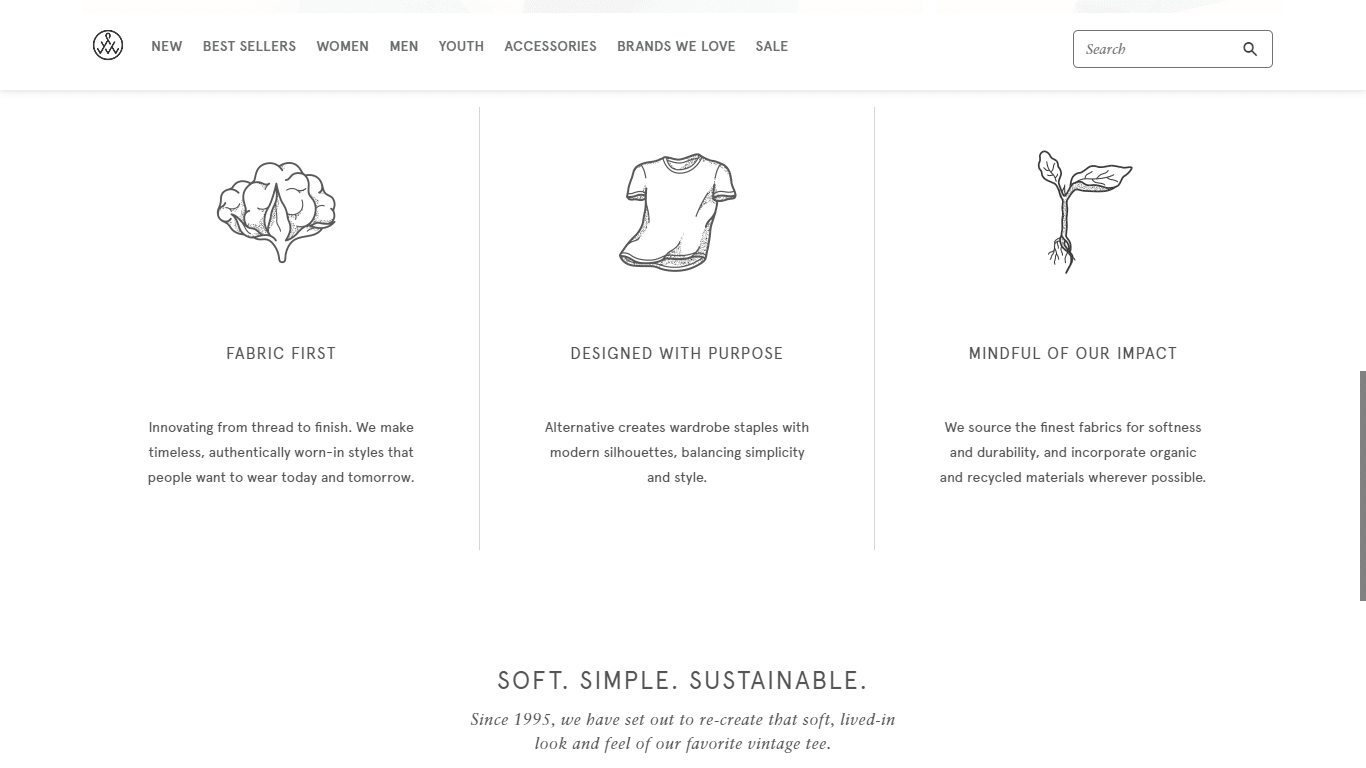 Alternative Apparel describe its value proposition in detail on the homepage