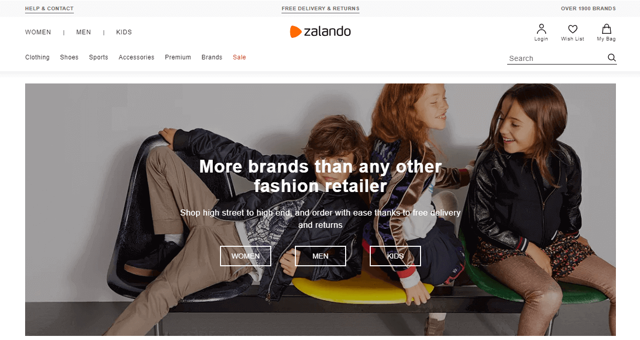 Zalando value proposition on their homepage