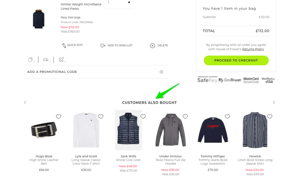 Showing cross-sells on a shopping cart