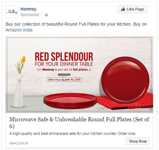 Facebook remarketing add example