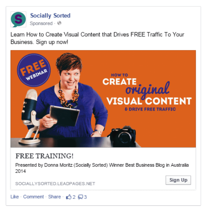 Facebook remarketing ad engaging with specific contente