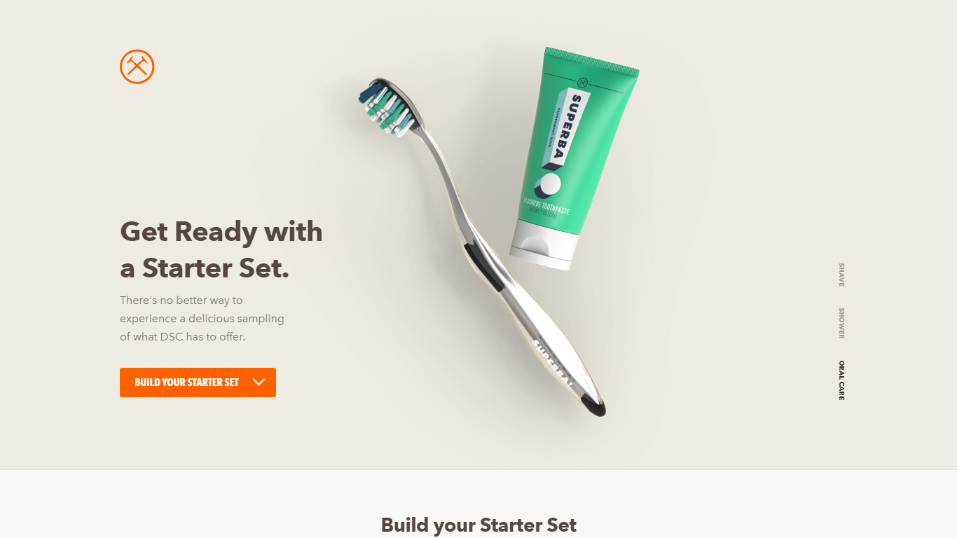 Design of Dollar Shave Club landing page