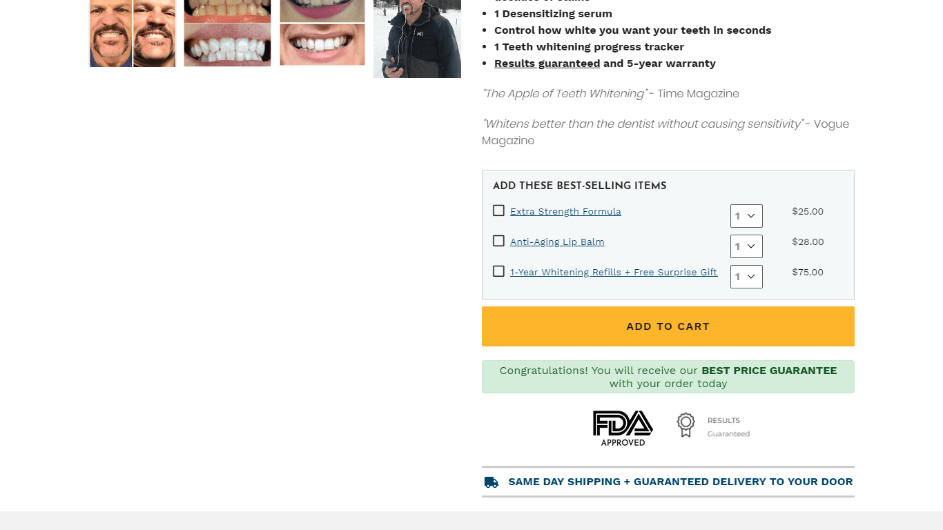 FDA-approved seal on a landing page