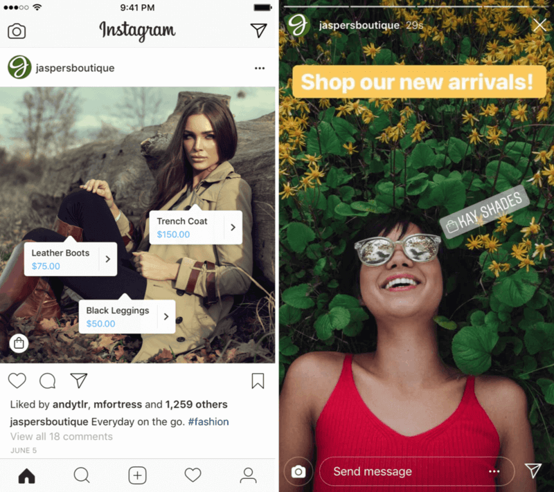 Product tags on Instagram post and stories