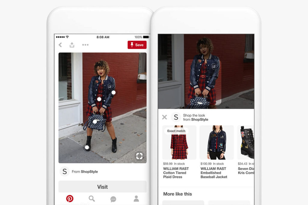 """Shop the look"" option via Pinterest"