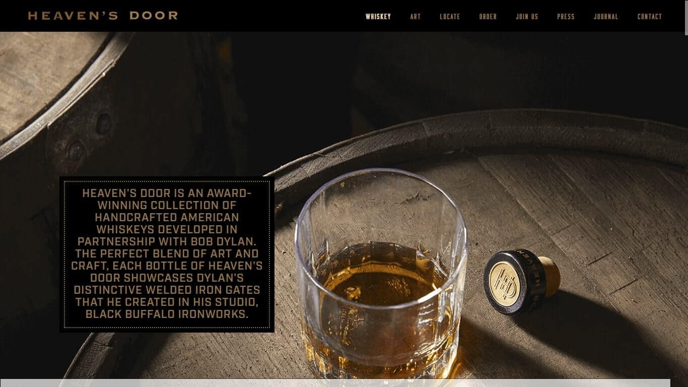 In only a few words Heavens Whiskey tells visitors how its whiskey is created and where the inspiration for the bottle design came from