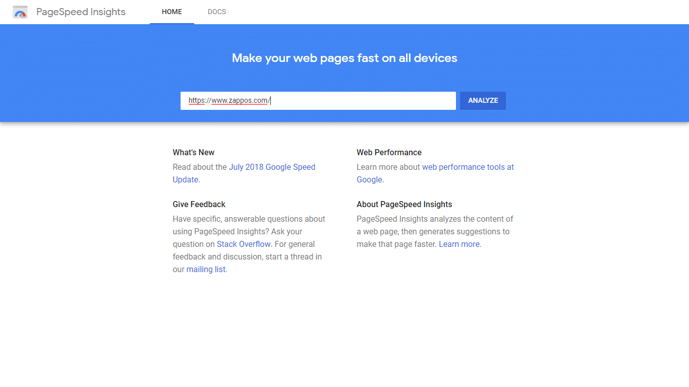 In this walk through we will use Zappos as an example Google PageInsights arguably the best tool available for testing site speed is completely free and very comprehensive