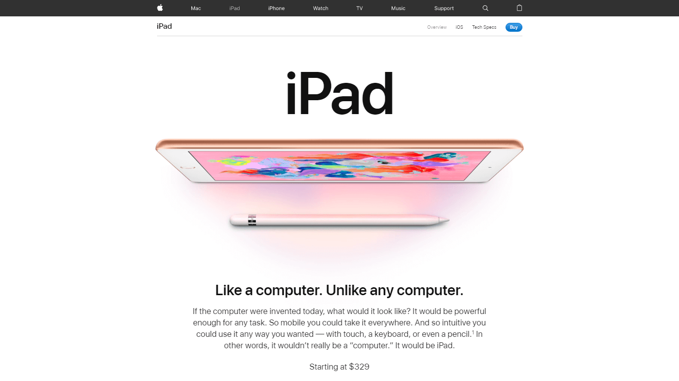 Apple product page template