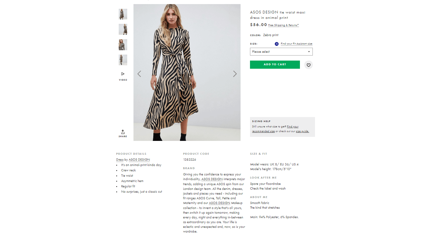 ASOS product page template