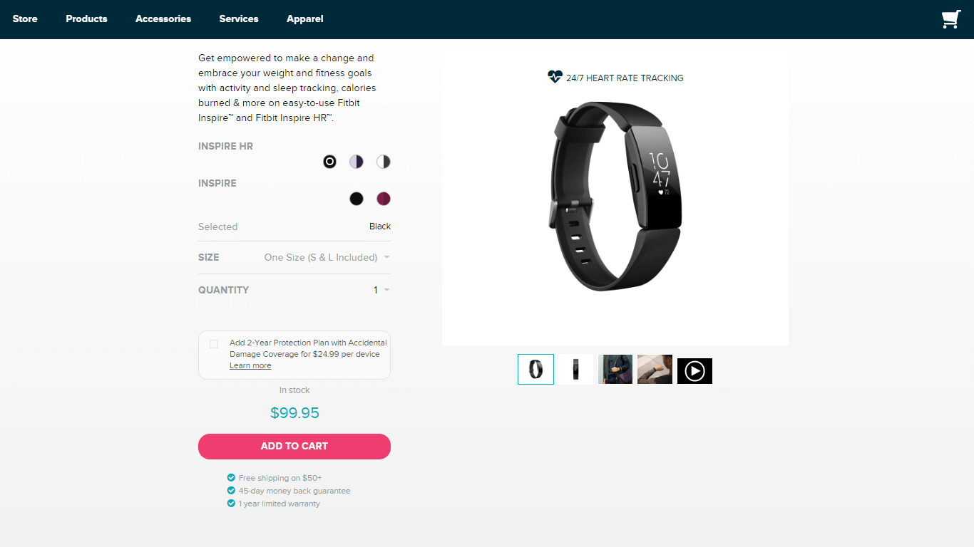 fitbit product page template