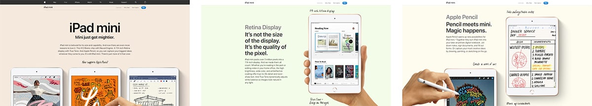 The main product page for the Ipad Mini is sleek and simple