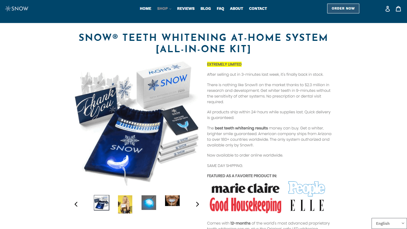 Snow a company that sells teeth whitening products shows logos of the magazines its been positively mentioned in just under the main product description