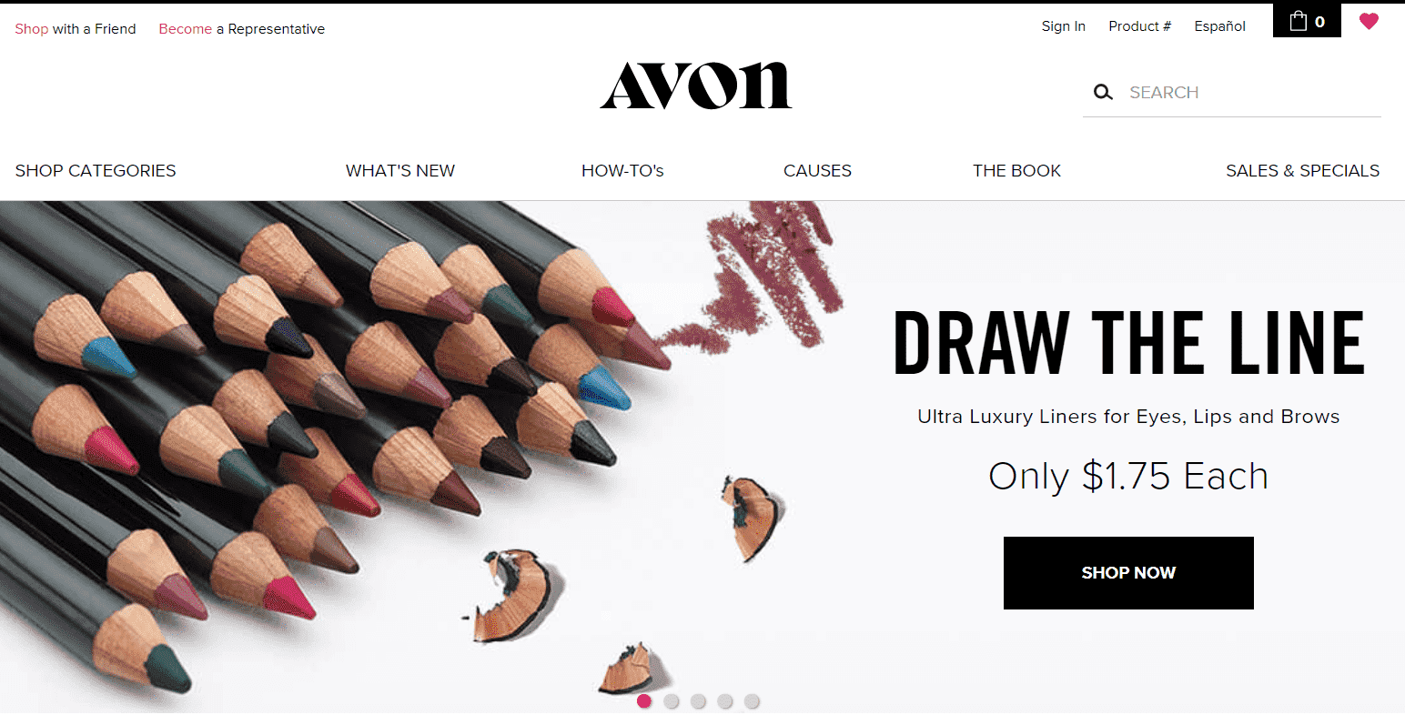 English version of Avon website