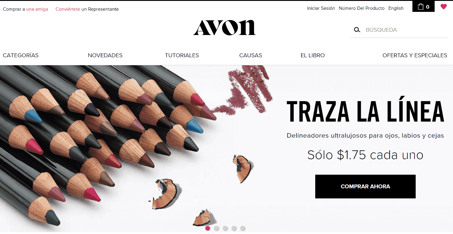 Spanish version of Avon website