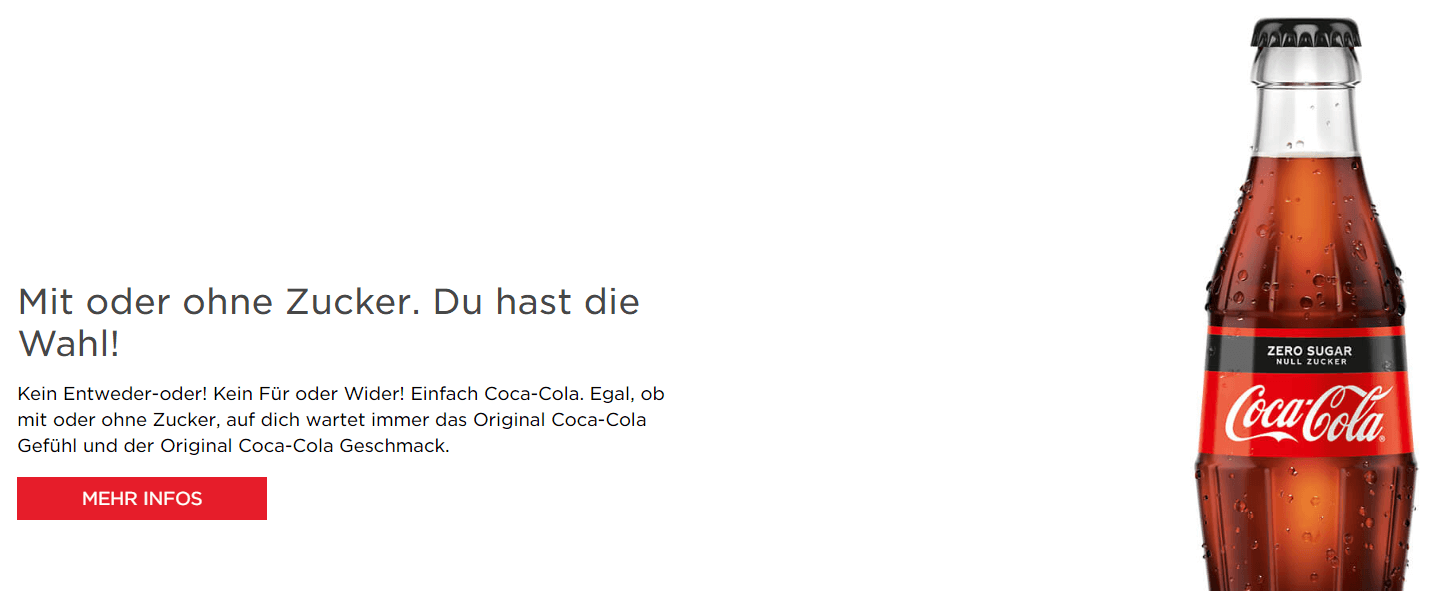 Banner on Coca Cola German website