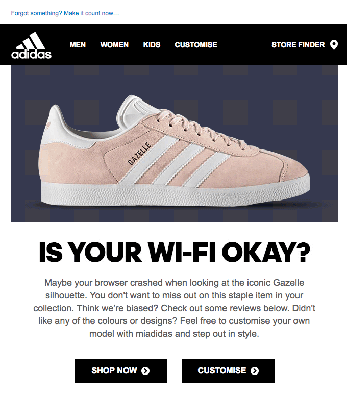"Adidas with their ""Is your wifi okay"" email 1"