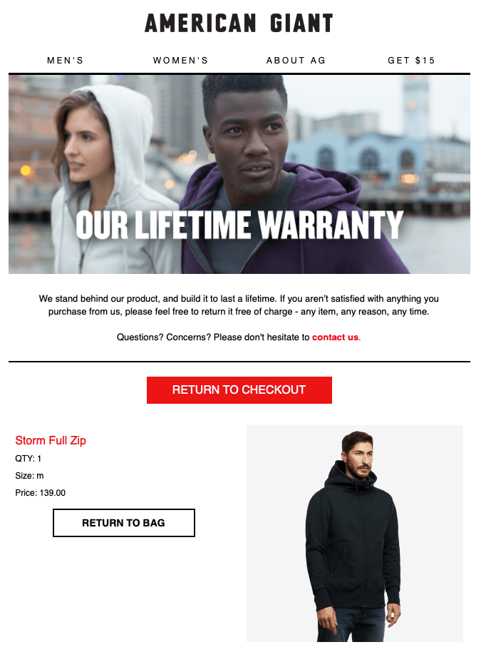 "American Giant with their ""Our lifetime warranty"" email"