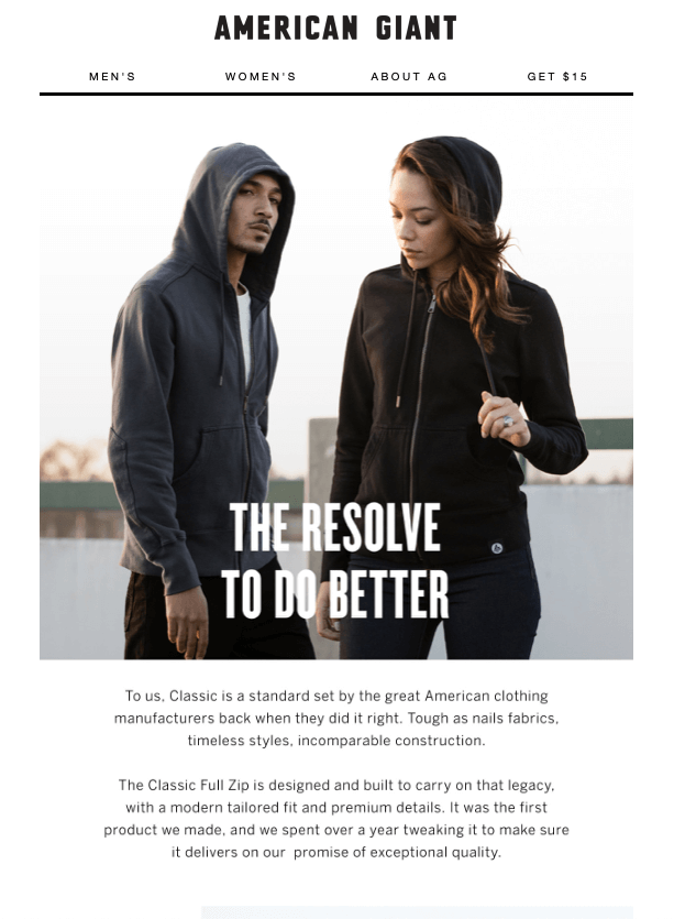 "American Giant with their ""The resolve to do better"" email"