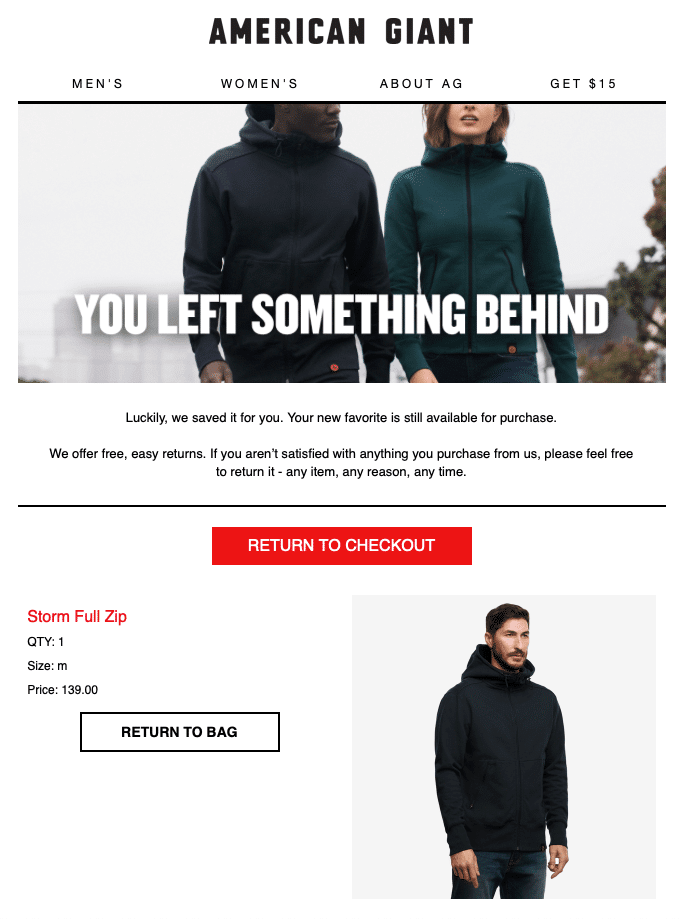 "American Giant with their ""You left something behind"" email"