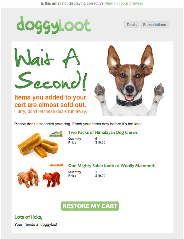 "Doggyloot with their ""Wait a second"" email"