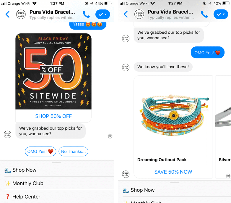 Messenger marketing by Pura Vida Bracelets