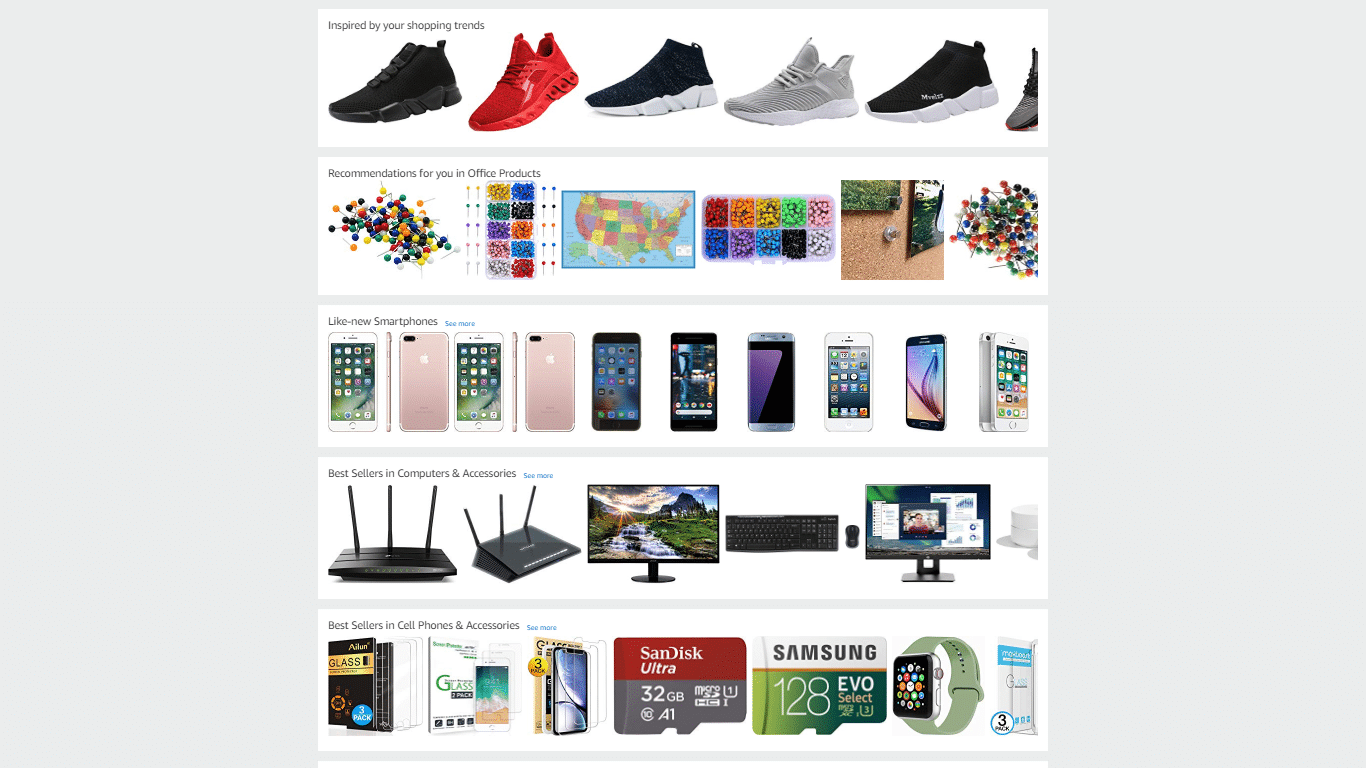 Amazon personalizes the homepage-2