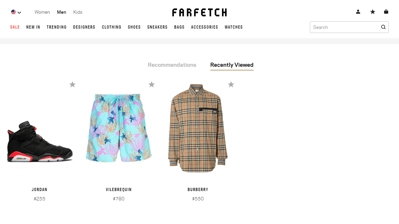 Farfetch shows recently viewed products