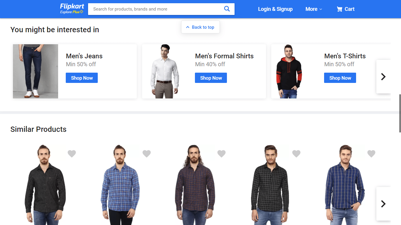 Flipkart offers personalized category suggestions