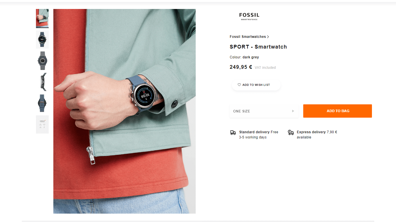Fossil offers multiple shipping options