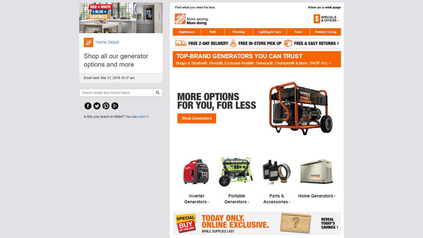 Home Depot tailors email offers and promotions to specific segments of your customer base