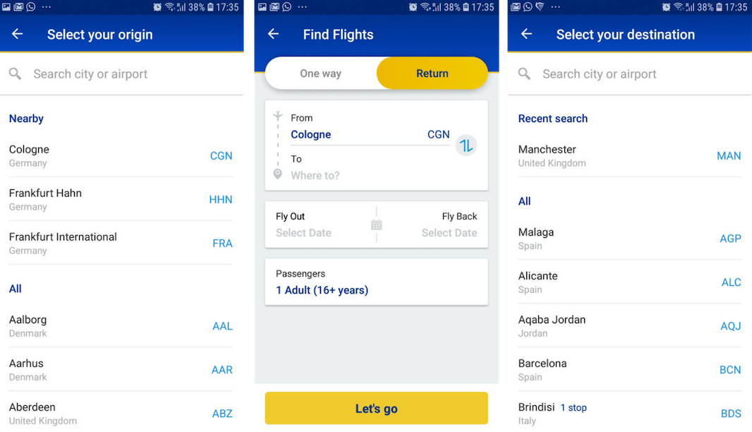 Ryanair pre-fills search options based on past searches, purchases, and location