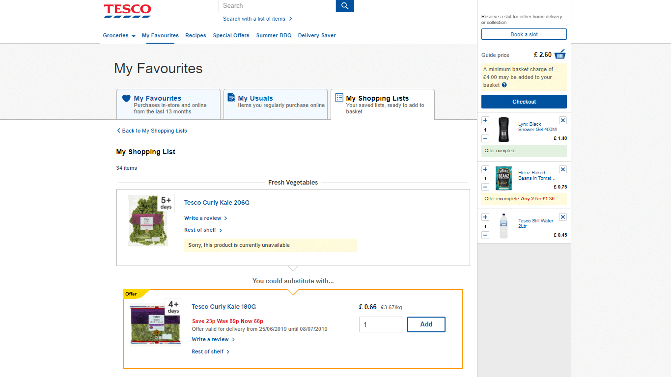 Tesco lets customers save lists of Items