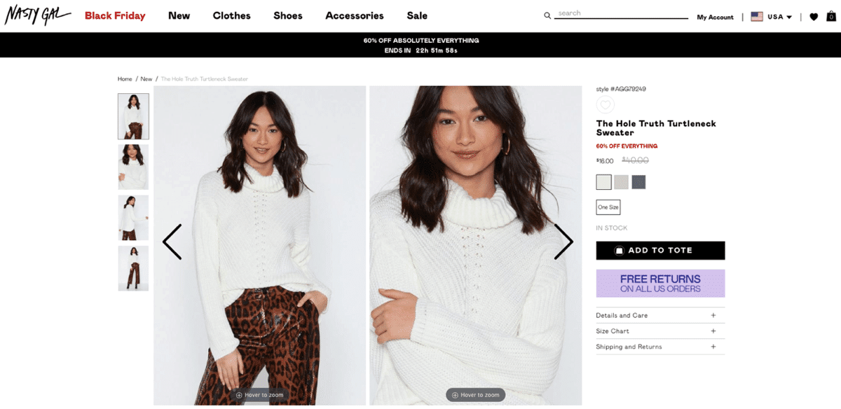 Nasty Gal including discount on the product page
