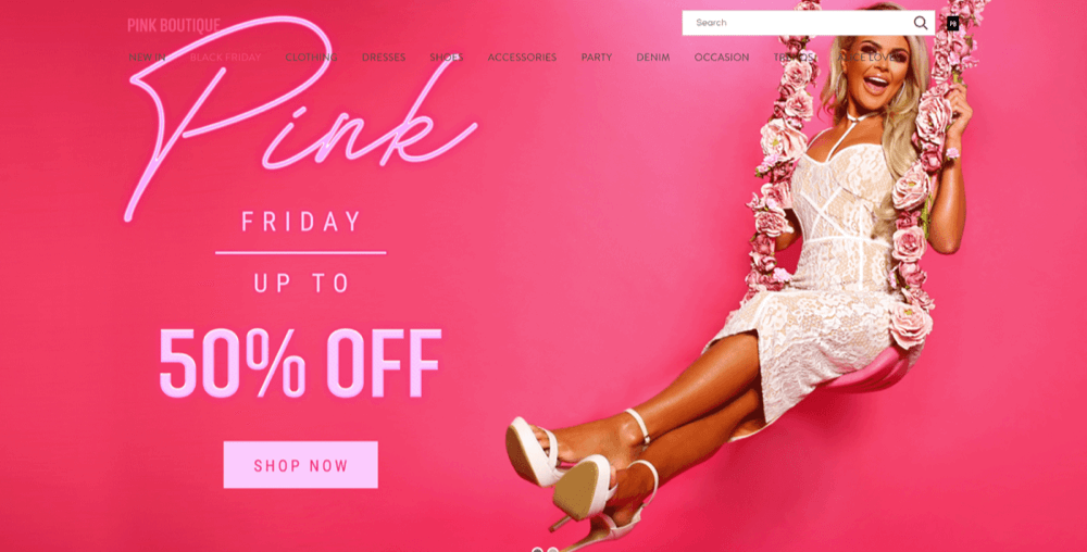 The Black Friday homepage for Pink Boutique