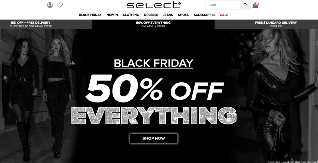 Select and their clear flat discount on their landing page