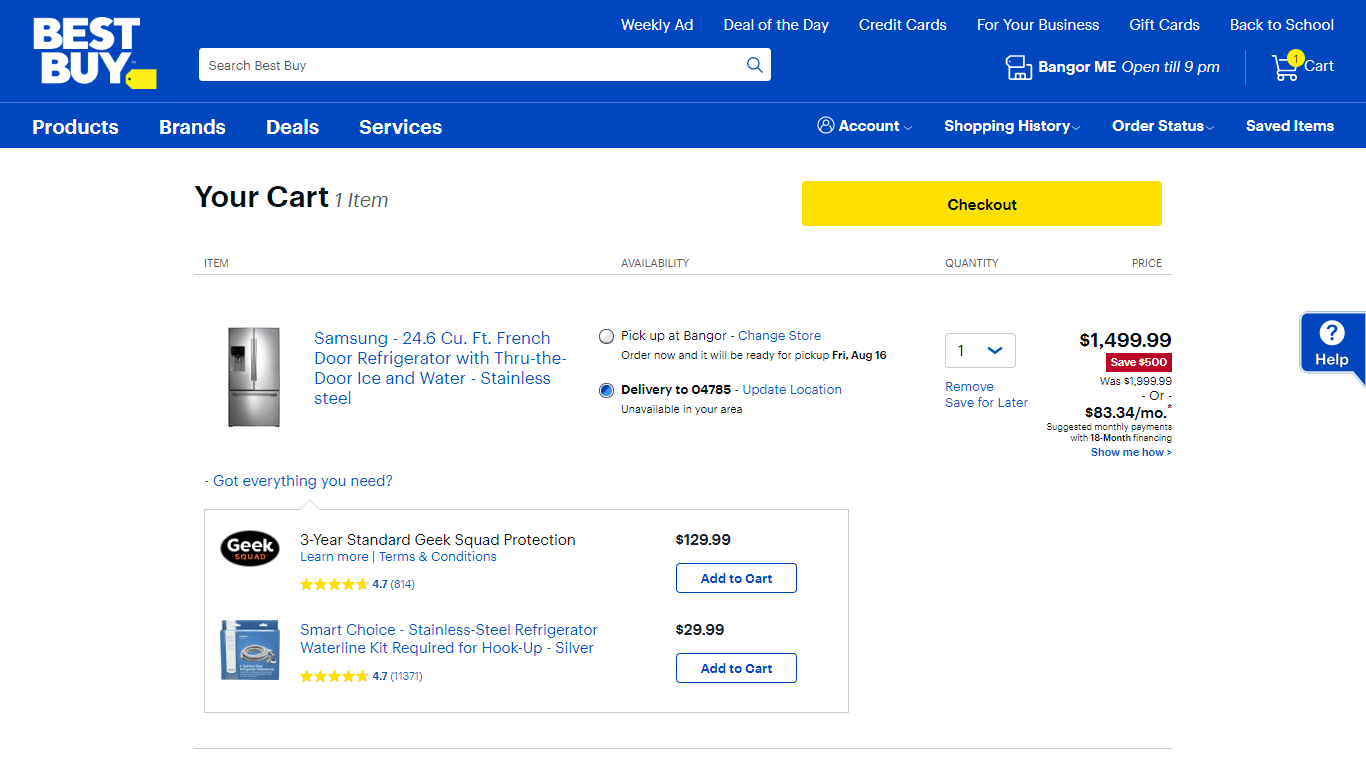 Bestbuy introducing more freedom into their cart