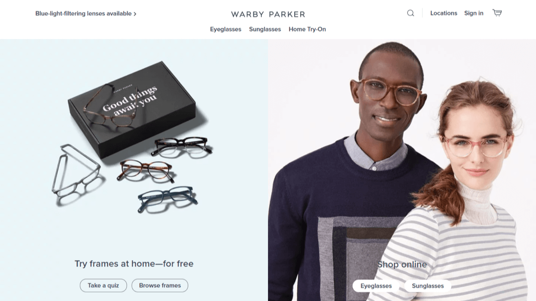 Warby Parker and their clear display of USP