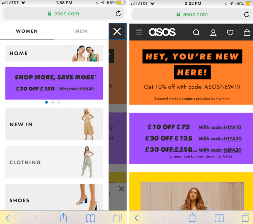 High-converting mobile page by asos.com